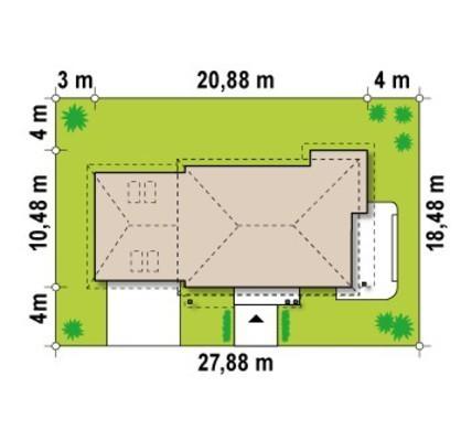 Двухэтажная загородная усадьба с гаражом и многоскатной кровлей