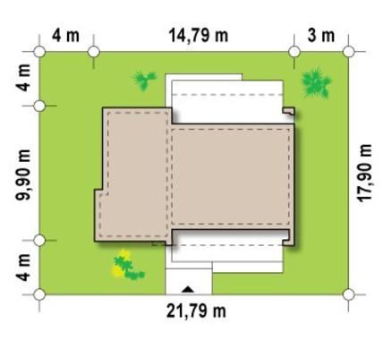 Небольшой загородный дом с плоской крышей в стиле бунгало