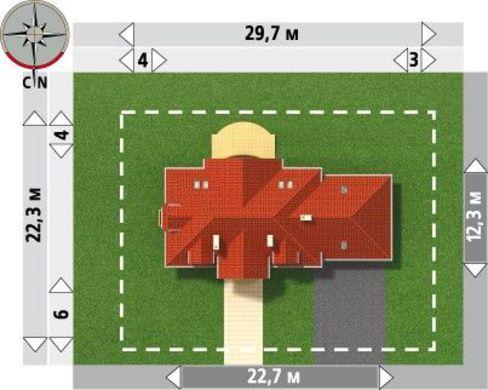 Проект оригинального коттеджа с просторными комнатами