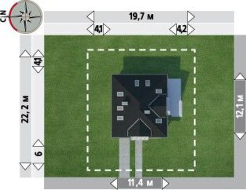 Интересный загородный коттедж с террасой и гаражом
