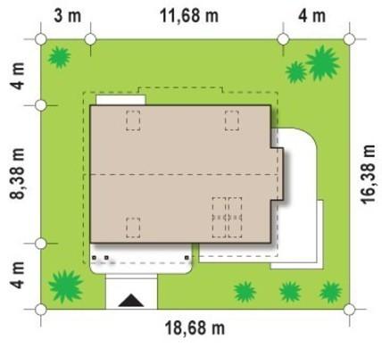 Проект мансардного коттеджа для участка с южным въездом