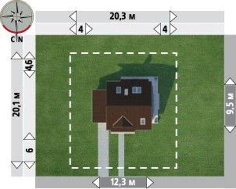 Проект мансардного дома с круглым эркером в кухонной зоне